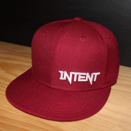 Maroon and white SnapBack Mx brand hat