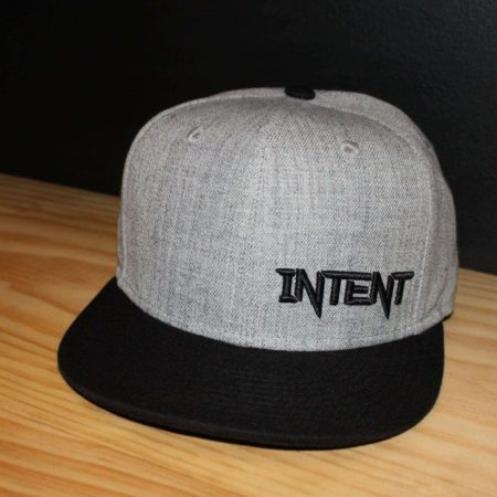 Grey and black SnapBack. Intent Mx hat