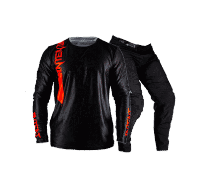 Black motocross gear - intent Mx store infinite blackout pinned black and red gear set