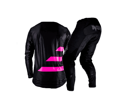 Back of the intent Mx store gear set featuring the infinite stretch hex mesh light weight and breathable jersey paired with the infinite stretch high performance anti abrasion moto pant