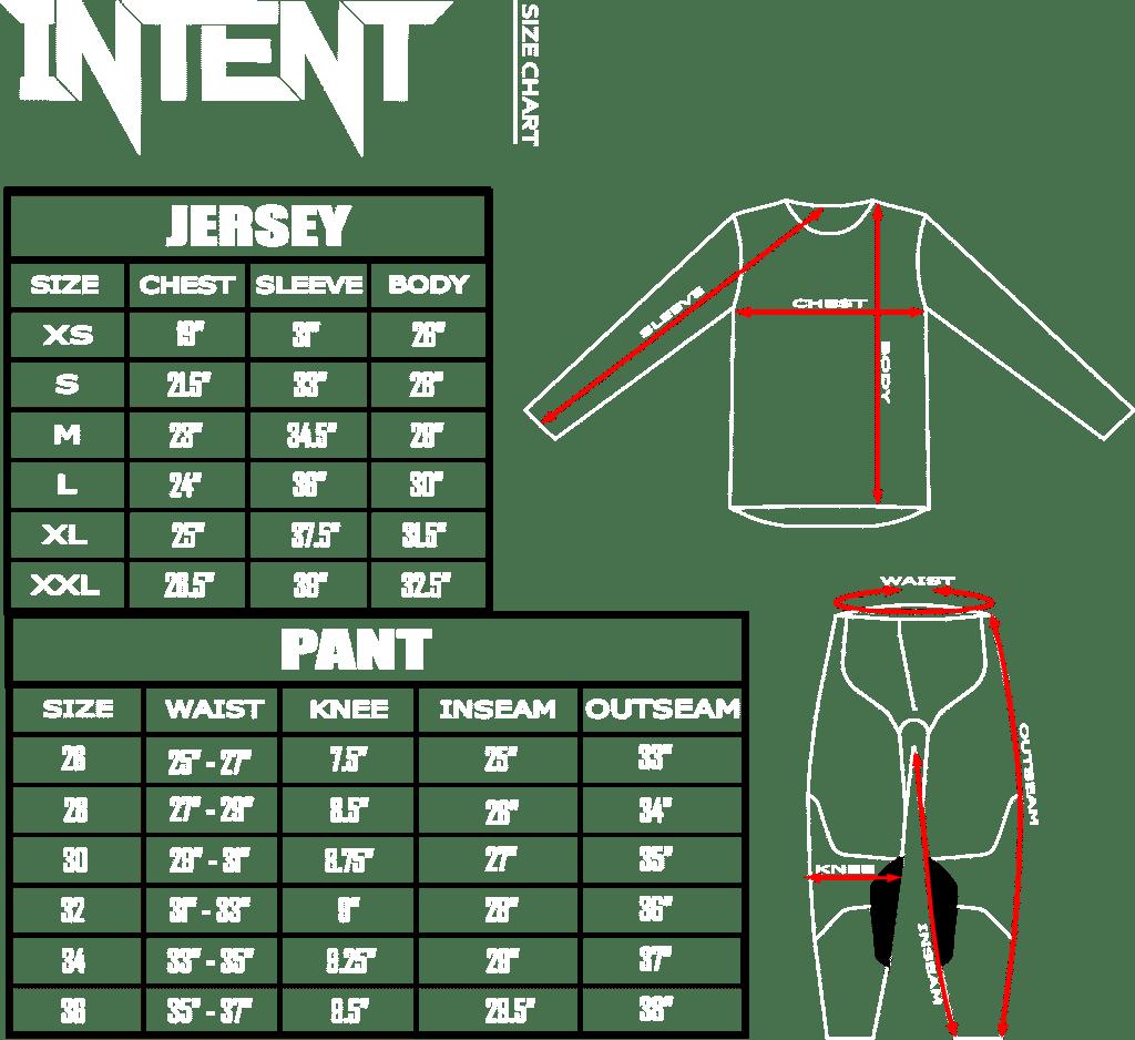 intent mx 2020 infinite size chart