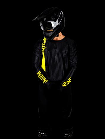 Black and fluoro yellow motocross racewear