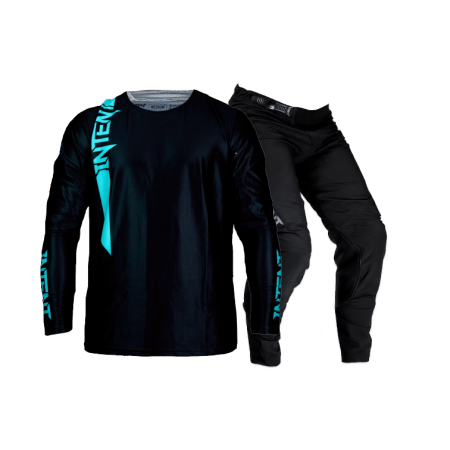 Blackout Pinned - Teal and black dirt bike jersey and pant combo