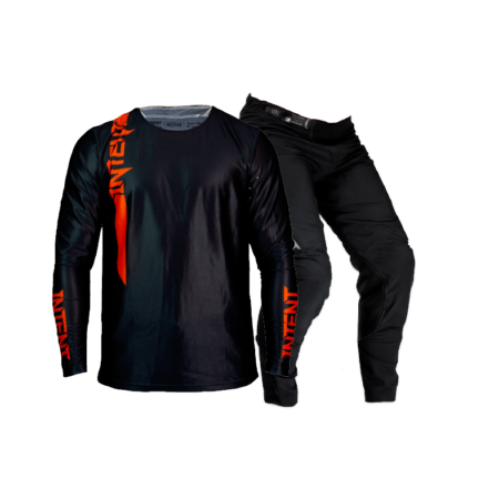 Red and black moto gear set