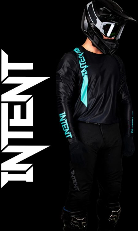 Black and teal motocross gear set