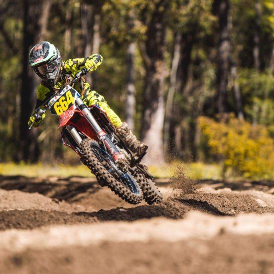 Hunter Collins in the jigsaw Fluoro yellow motocross gear