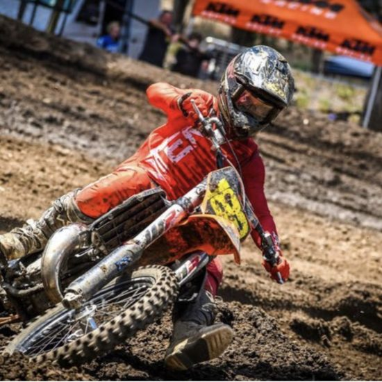 Jayden Binger in the quake red/maroon dirt bike gear