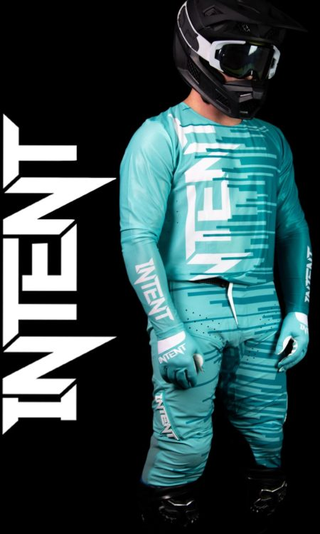 Teal motocross gear. High Quality Jersey, Pants and gloves