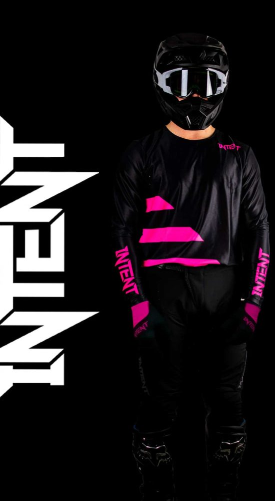 Black and pink moto gear