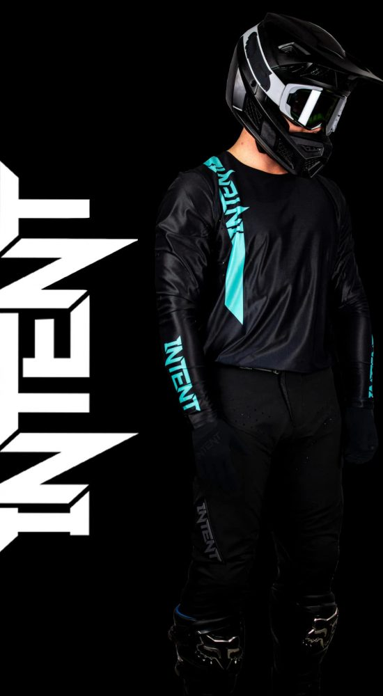 Black and Teal Motocross Gear