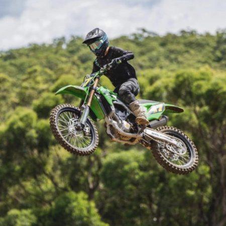 Cody Kilpatrick on his Kawasaki 250cc dirt bike racing the junior lites as number 17 kitted in intent motocross gear