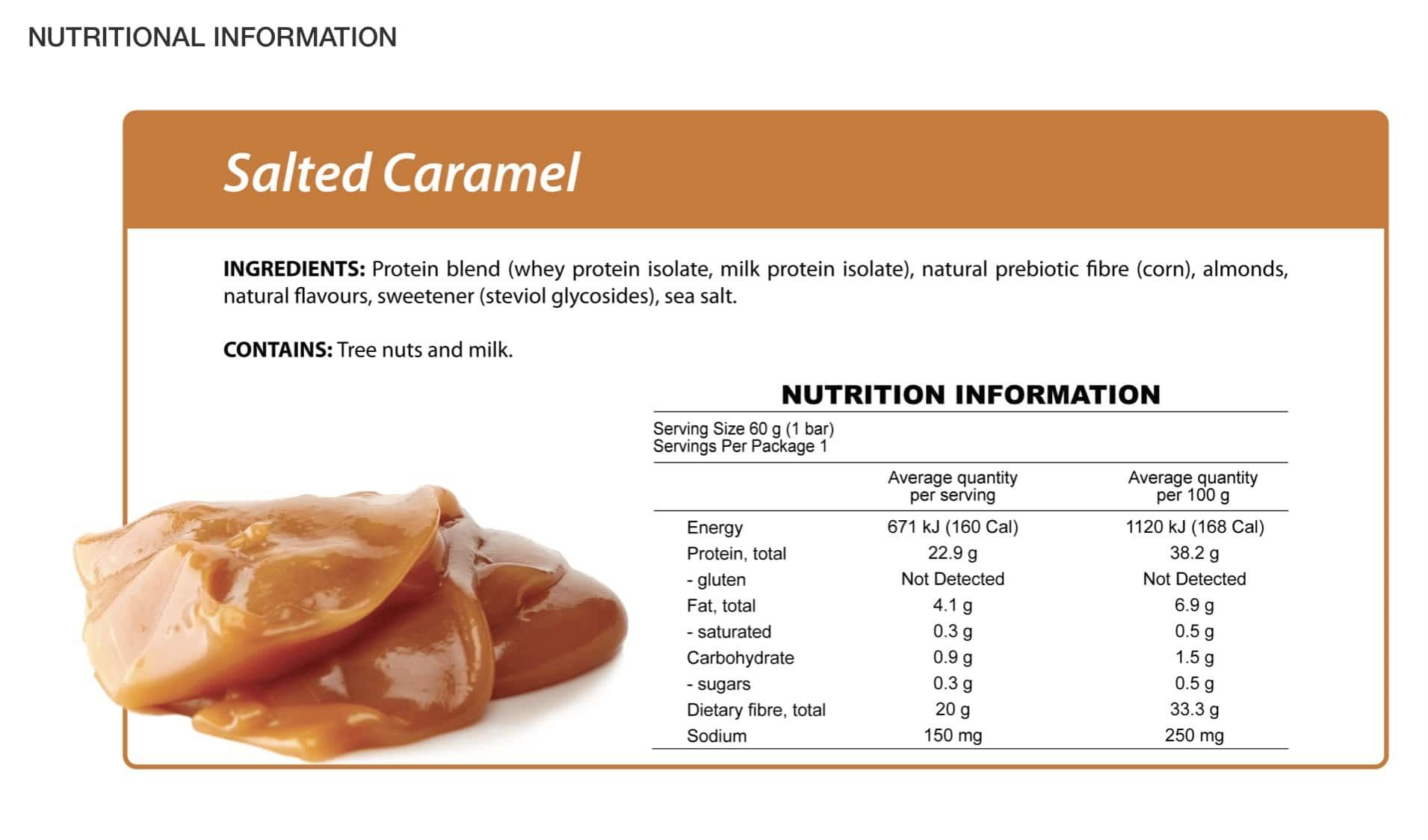 Salted Caramel Protein Bar Nutritional Information