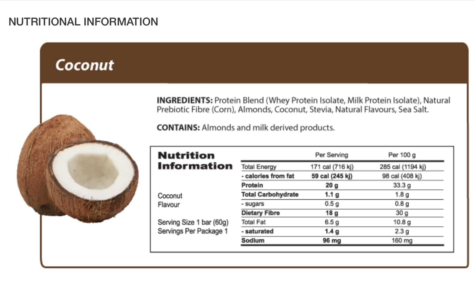 Coconut Protein Bar 60g