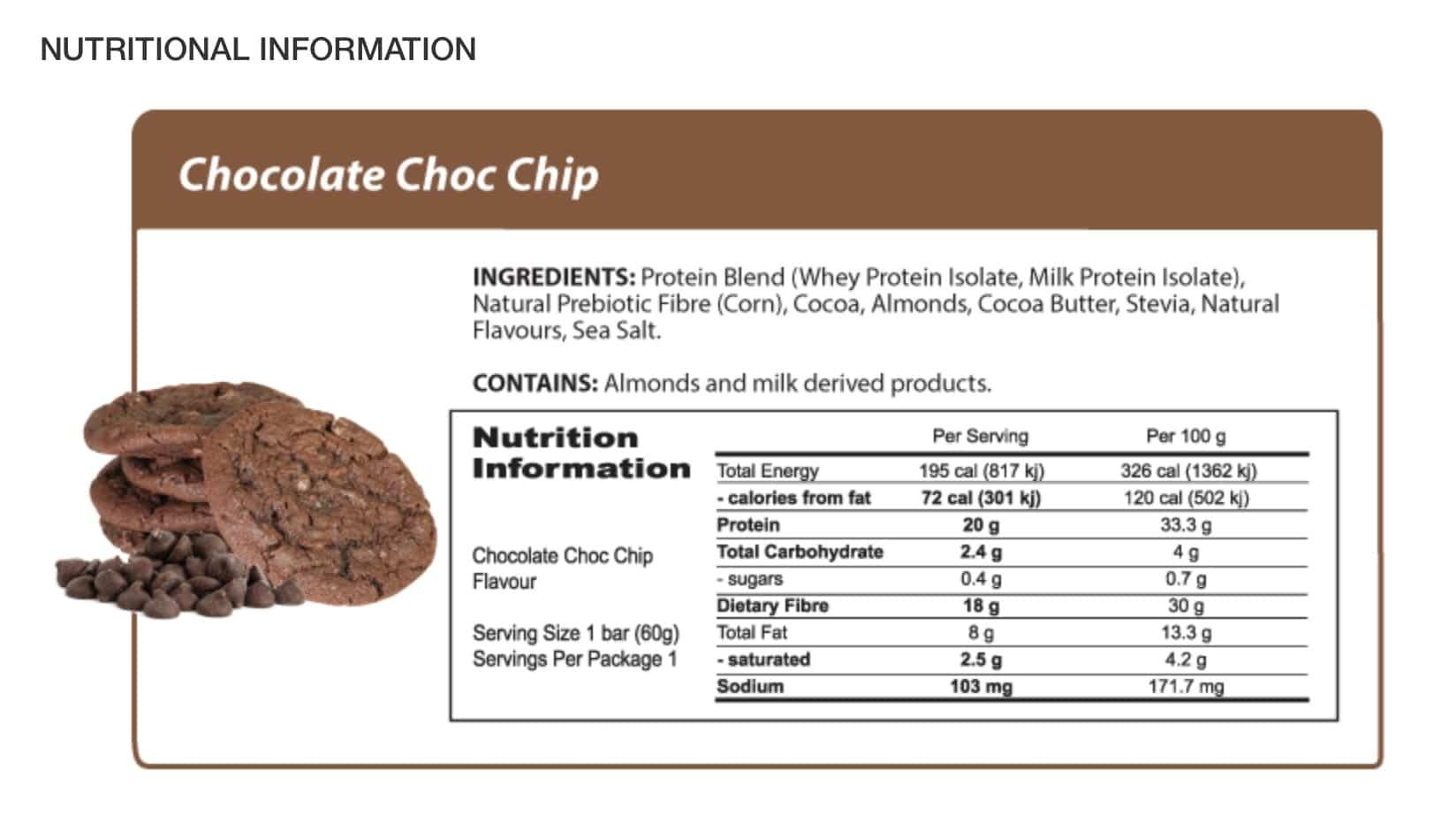 Nutritional Information | Chocolate Choc Chip Protein Bar