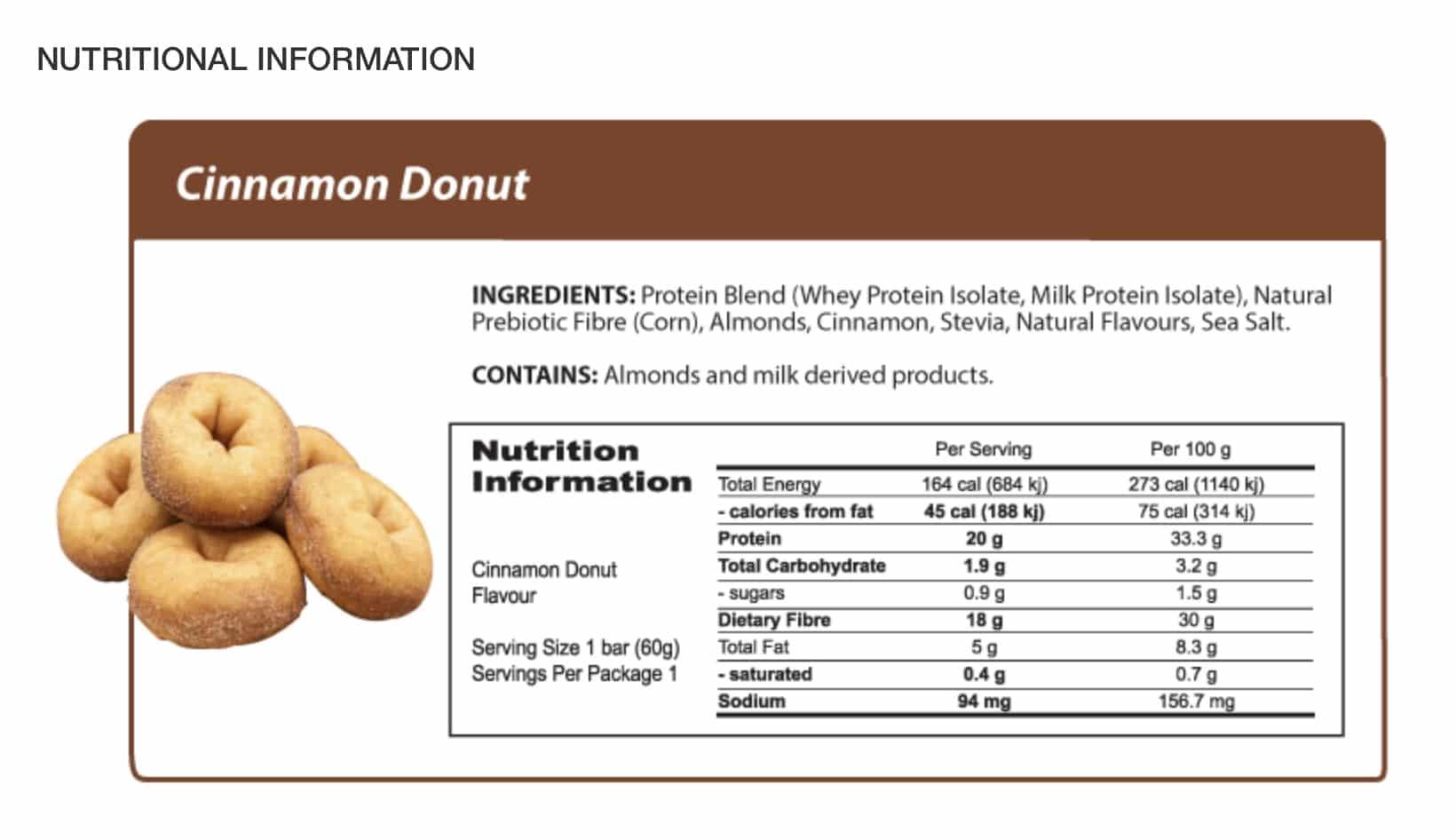 Cinnamon Donut Protein Bar 60g